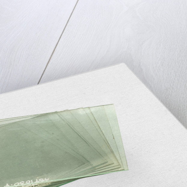 Thirteen clean cut glass squares in a box by unknown