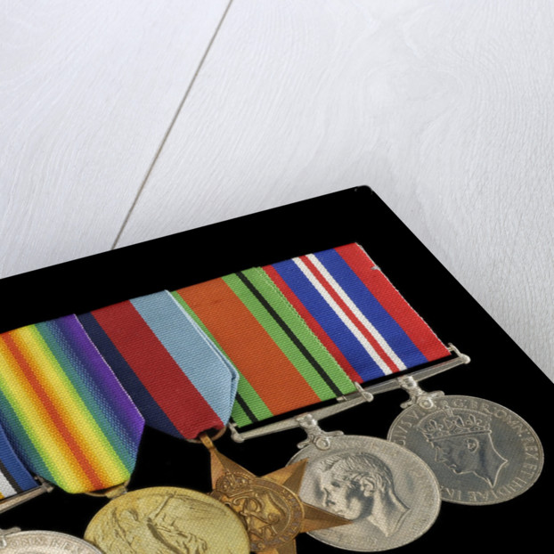 Medals awarded to Percy S. Inge DSM (obverse, l to r, ZBA0315-0321) by B. Mackennal