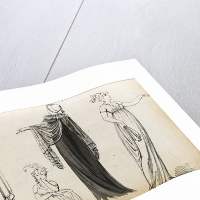 Three full-length figures of an elegant woman or women and a seated woman (verso) by Thomas Baxter