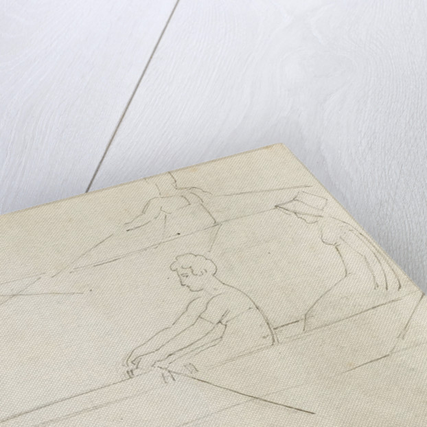 A man and a woman in a boat and three studies of figures rowing (verso) by Thomas Baxter