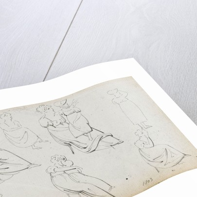 A sheet of figure studies (recto) by Thomas Baxter