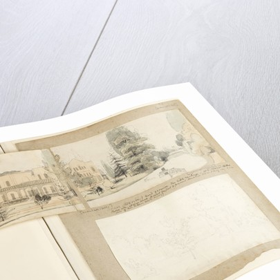 A panoramic view showing the east and north elevations of Merton Place by Thomas Baxter