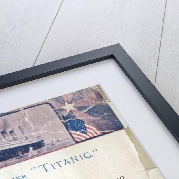 Second Class dinner menu from the last night on the RMS 'Titanic', 14 April, 1912, kept by survivor Mrs Bertha J. Marshall (nee Watt) by unknown