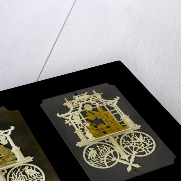 A pair of bonework plaques depicting fretwork Chinese pavilions by Ernest Edwin Russell