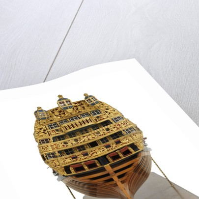 Ship of 96 guns, dead astern galleries detail by unknown