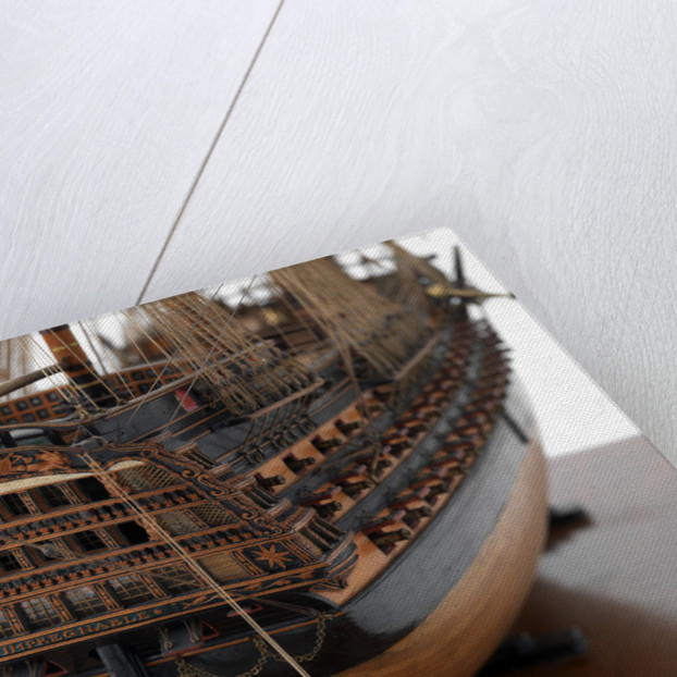 Ship of 110 guns, starboard stern gallery and boat detail by unknown