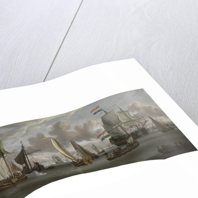 Ships on the River Ij in front of the Tollhouse near Amsterdam (before conservation in 2008) by Abraham Storck