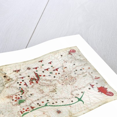 Portulan chart of Mediterranean Sea and NE Atlantic, this is the oldest portulan in the National Maritime Museum's collections by Jacopo Bertran