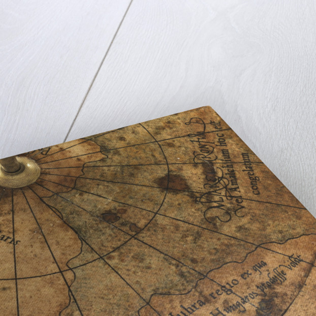 Terrestrial Globe, detail of the presumed location of the magnetic north pole by Gerard Mercator