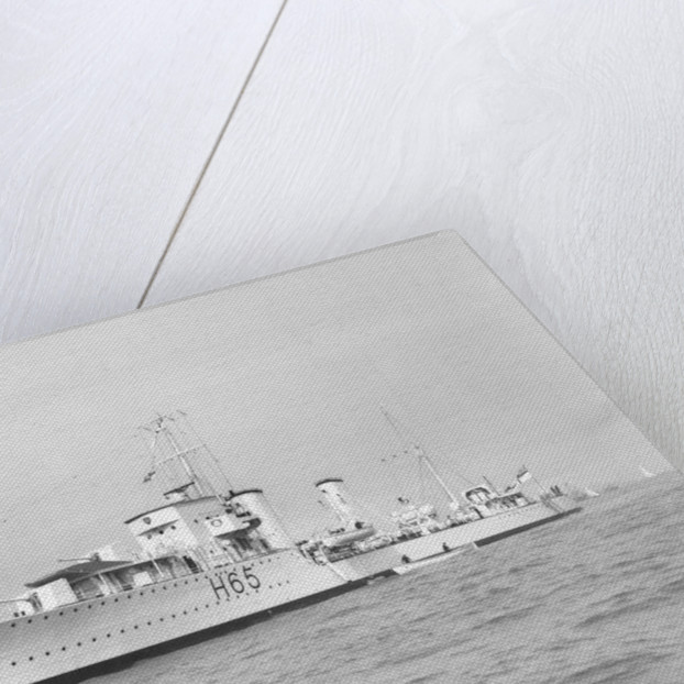 Port bow view of destroyer HMS 'Boadicea' (1930), pendant H65 by unknown