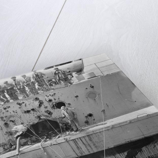 Battleship HMS 'Warspite' (1913) in No.1 Dry Dock at Rosyth by unknown