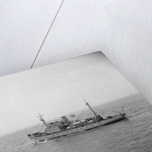 HMS 'Reclaim' (Br, 1948), under way, bound out from Portsmouth harbour, taken from Point Battery by unknown