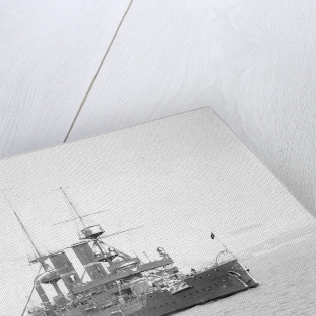 Battleship HMS 'Triumph' (1903) at anchor after a snowstorm by unknown