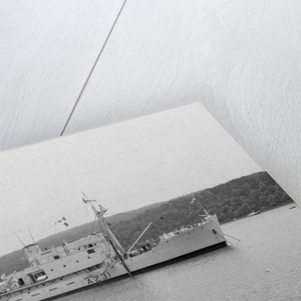 'Reclaim' (Br, 1948), anchored at Tobermory working on the salvage of a helicopter by unknown