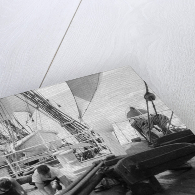 'Herzogin Cecilie' (launched 1902) under sail, two seamen are holystoning the deck, 1928 by Gustaf Erikson