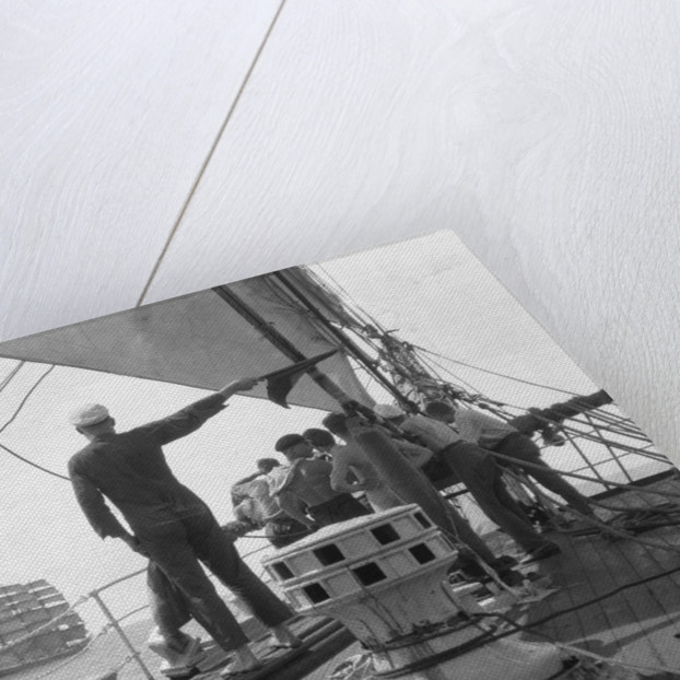 Overhauling the masted barque 'C.B. Pedersen' by Alan Villiers