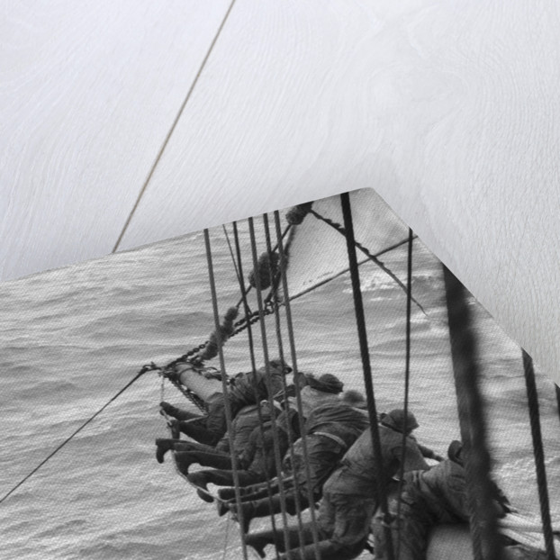 Making the main sail fast near Cape Horn, swaying on the footrope by Alan Villiers