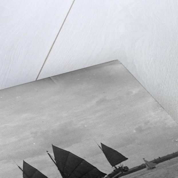 A three-masted 'man of war' Junk near Shanghai by Kenneth Hurlstone Jones