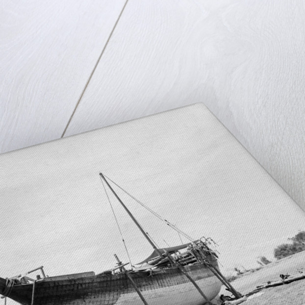 'Triumph of Righteousness' propped for redressing of the hull by Alan Villiers