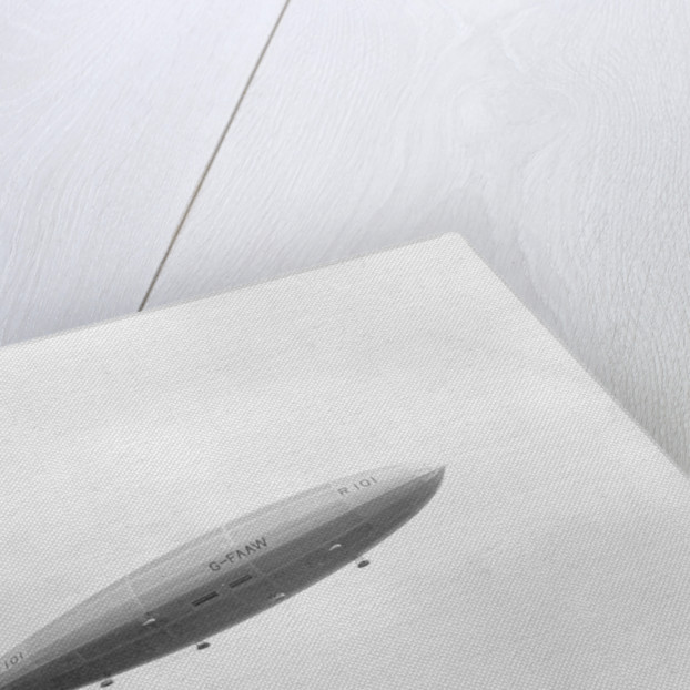 Photograph of rigid airship 'R101' (1929) in flight over Hendon by unknown