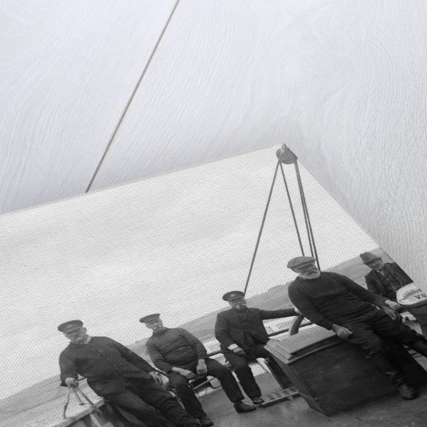 A Falmouth pilot cutter, the 'Vincent' (Br, 1852) on board looking aft from the starboard side amidships showing five men aboard by unknown