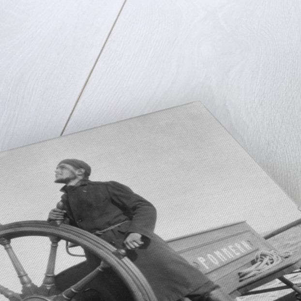 'Pommern' (Fi, 1903), 4-masted barque, Peter Karney at the wheel, steering by the wind by unknown