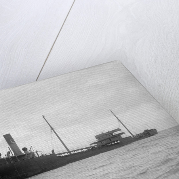 A starboard quarter view of the US tanker 'Gulflight' (1914) after having been torpedoed by Gibson's of Scilly Shipwreck Collection