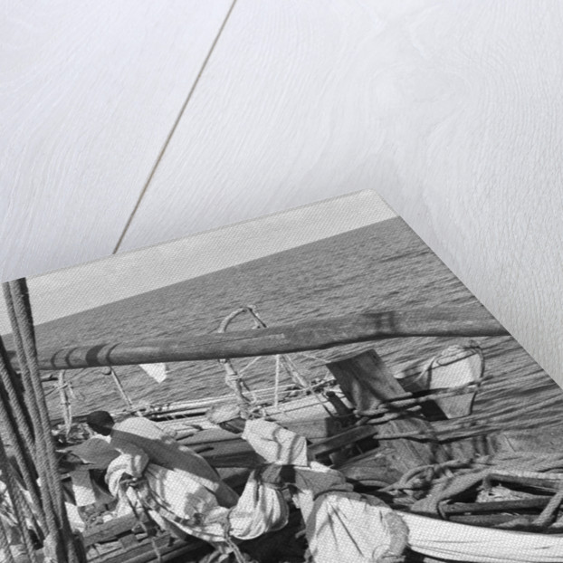 Bringing the mizzen sail along to bend to the mizzen yard by Alan Villiers