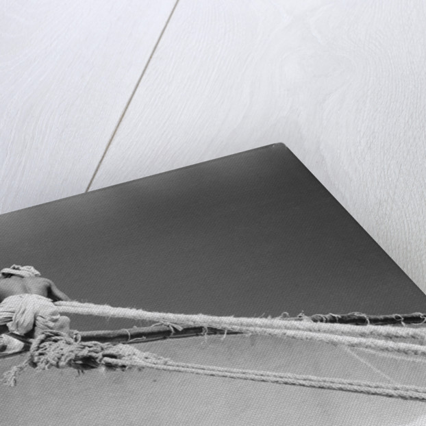 Man up aloft on the 'Sheikh Mansur' by Alan Villiers