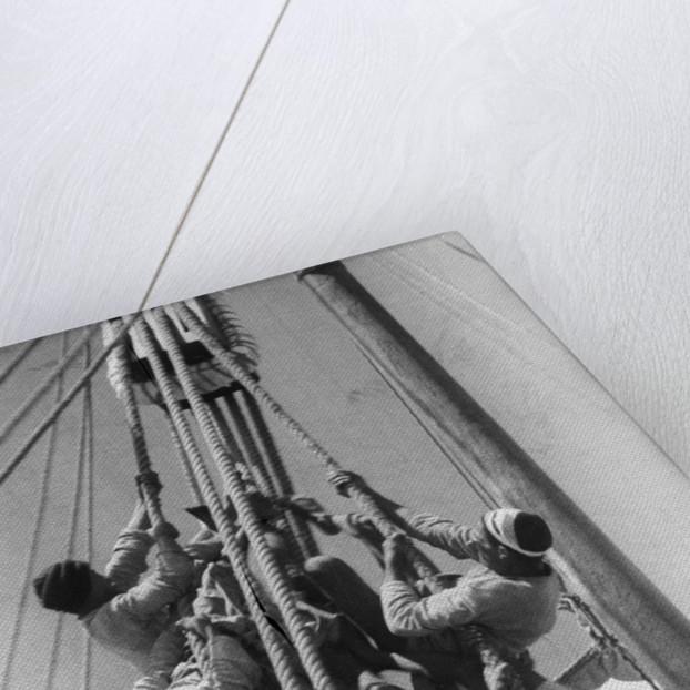 Sailors climbing the halyard blocks by Alan Villiers