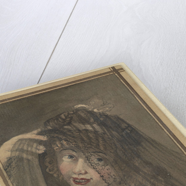 Half-length view of a girl in a white dress and black veil by Gabriel Bray