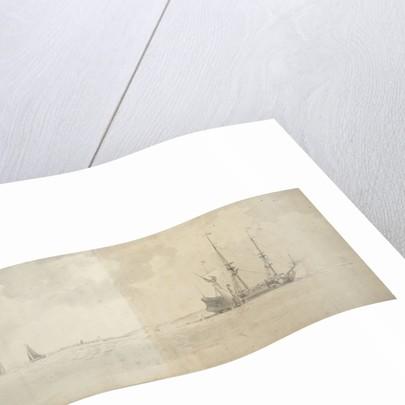 A Dutch man-of-war at anchor by Willem Van de Velde the Younger