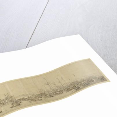 The decorated pontoon before Whitehall by Willem van de Velde the Elder