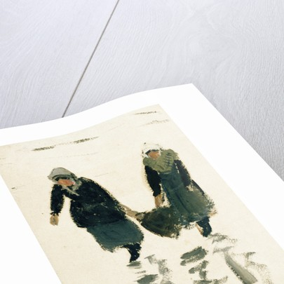 Two fisherwomen carrying the catch, Northern France by William Lionel Wyllie