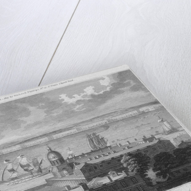 The West India Docks in the Isle of Dogs, with Greenwich Hospital in the foreground. Drawn in the Camera Obscura of the Observatory. by Pugh