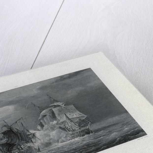 Combat de la Fregate la Venus contre le Ceylon au vent de l,  Ile Bourbon (Nuit du 16 au 17 Septembre 1809). Galrie Histque de Versailles by Gilbert