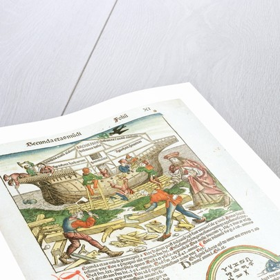 Page from 'The Nuremberg Chronicle' by Hartmann Schedel, depicting wooden shipbuilding in progress by Michael Wolgemut