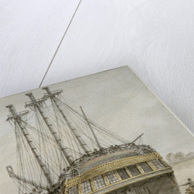 An East Indiaman drawn up for repairs by Samuel Atkins