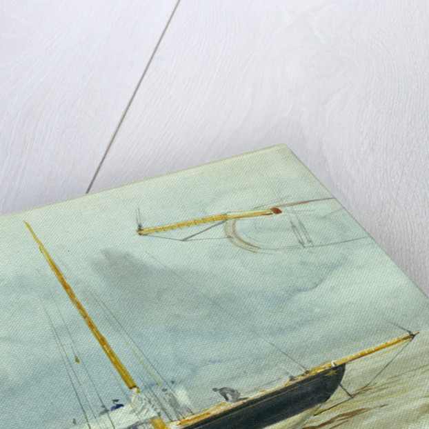 Portrait of a yacht at sea with crew on deck and detail of vessel enlarged in right-hand corner by William Lionel Wyllie