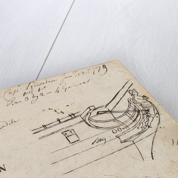 Annotated sketches of the stern, bow and figurehead of the Indiaman Houghton with inscription (on reverse) by Thomas Luny