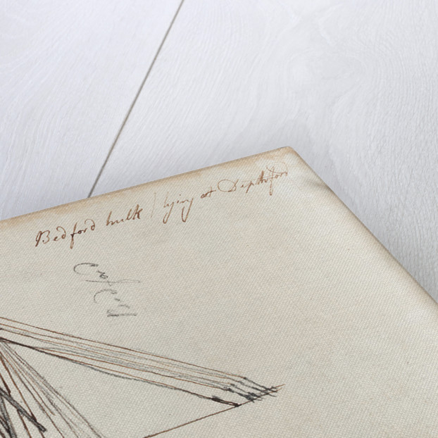 Details of rigging of 'Bedford' by Thomas Luny