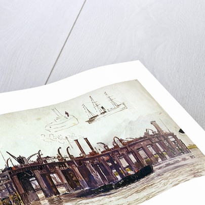 Jetty of Beckton Gasworks with very rough sketch of a ship and a tug by William Lionel Wyllie