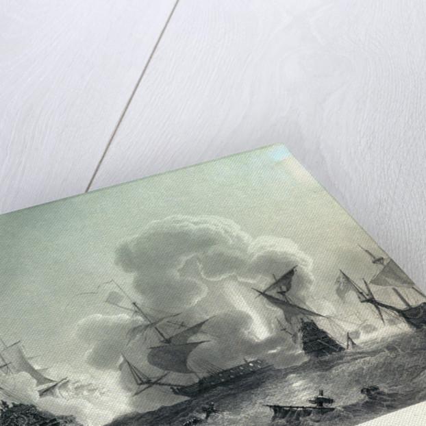 Combat naval de Lagos ou de Cadiz (27 June, 1693) Tourville disperse et brule la flotte anglaise et hollondaise d Smyrne, sur le cote du Portugal. by Jean Antoine Theodore Gudin