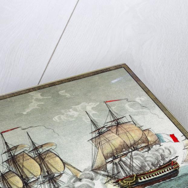 Battle between 32-gun French frigate 'Surveillante' and English 32-gun frigate 'Quebec' by Angeli