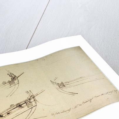 Sketch designs for the fore part of a yacht to be built for the van de Veldes by Willem Van de Velde the Younger