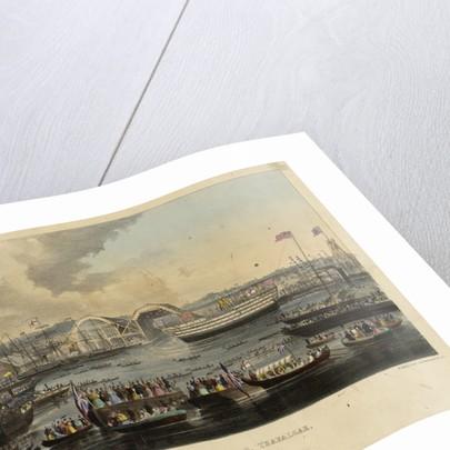 The launch of HMS 'Trafalgar', 120 guns, at Woolwich, 21 June 1841 by W. Kohler