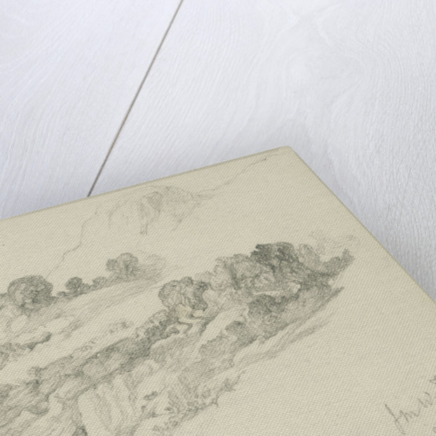 Study of mountainous wooded landscape (on reverse and inverted) by John Brett
