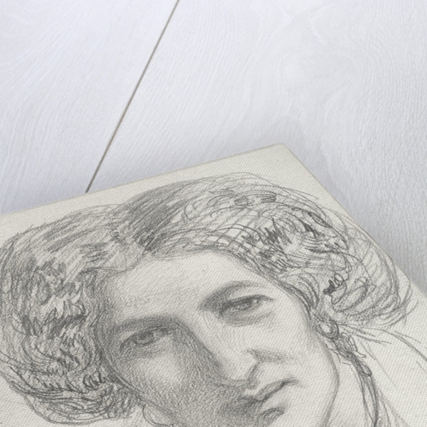 Head and shoulders portrait of a woman by John Brett