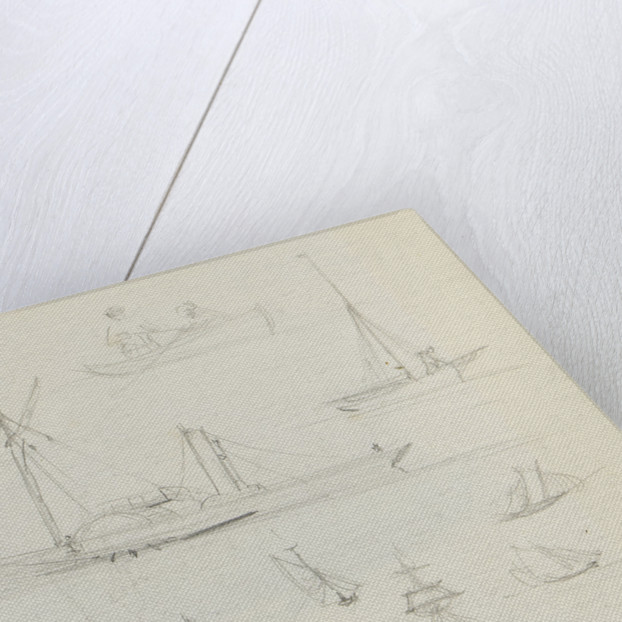 Sketch of two sailing vessels on a blue sea. With colour notes by John Brett