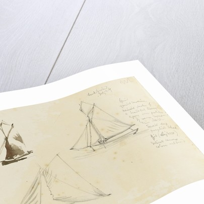 Two rough coastal profile sketches, one with a sailing vessel by John Brett